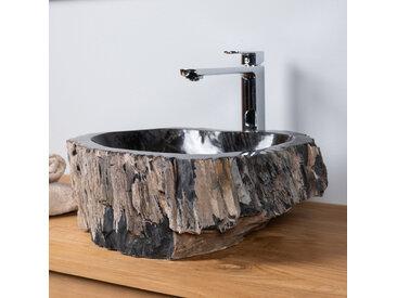 Vasque de salle de bain à poser en bois pétrifié fossilisé 45 CM