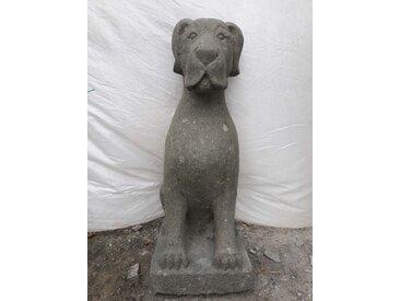 Sculpture jardin chien assis en pierre 80 cm
