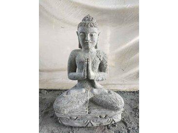 Statue extérieur zen Bouddha assis pierre volcanique position Prière 50 cm
