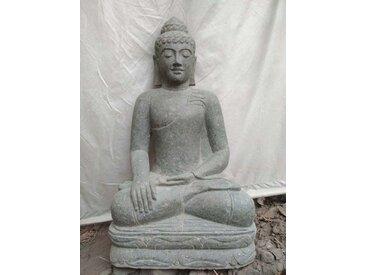 Sculpture de Bouddha en pierre volcanique position offrande 1 m