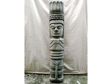 Statue jardin tiki inka zen en pierre volcanique 150cm