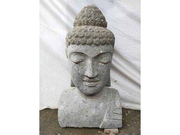 Statue Bouddha buste pierre volcanique de 70 cm