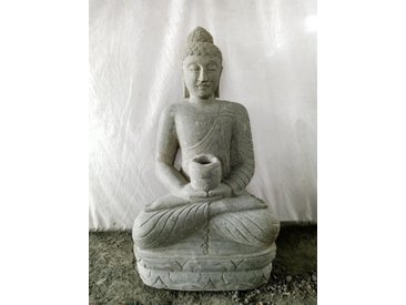 Jardin zen statue extérieur bouddha assis bol 100cm