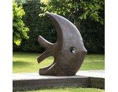 Grande sculpture moderne poisson 100 cm brun