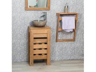 Petit meuble salle de bain WC ZEN en teck 40cm