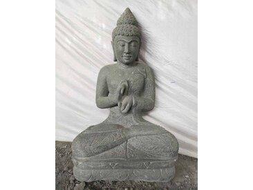 Statue jardin bouddha assis pierre volcanique position chakra 100 cm