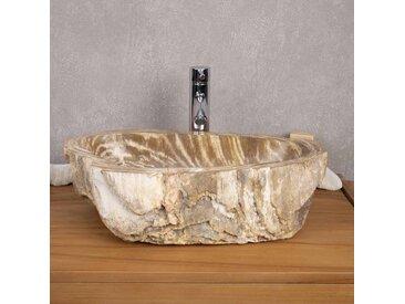Vasque salle de bain en bois fossilisé pétrifié à poser 53 cm