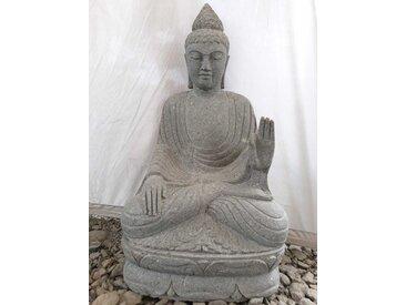 Sculpture de Bouddha en pierre volcanique position meditation 1m20