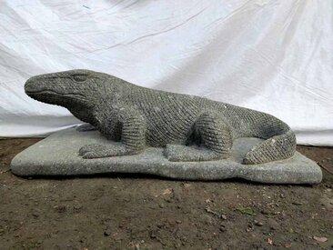 Sculpture jardin Dragon de Komodo en pierre 80 cm