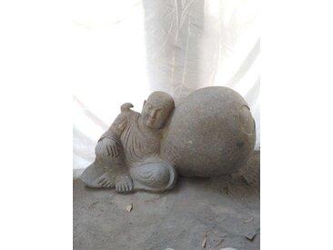 Statue de jardin moine Shaolin en pierre volcanique 100 cm
