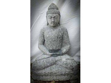 Statue jardin Bouddha pierre volcanique assis en Méditation 80 cm