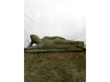 statue Bouddha couché en pierre naturelle 1 m 50