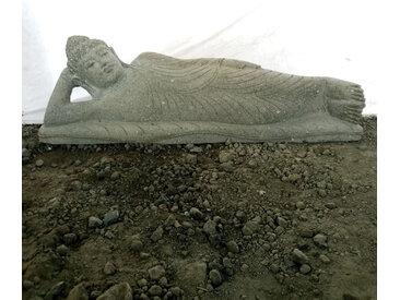 Grande statue de jardin en pierre volcanique Bouddha couché 100CM