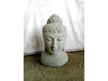 Deco jardin Buste de Bouddha statue en pierre volcanique 40 cm