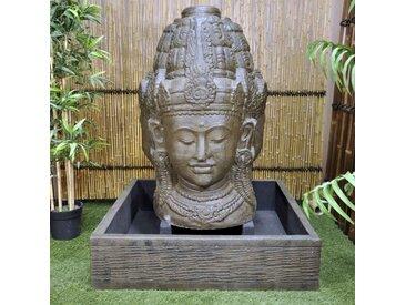 Fontaine de jardin visage de deesse Dewi 1 m 30 brun antique