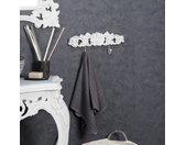 Porte serviette mural double crochet baroque blanc
