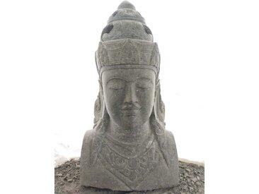 Statue de jardin buste déesse balinaise en pierre 120 cm