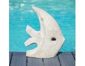 Sculpture moderne jardin poisson petit modèle gris 50 cm