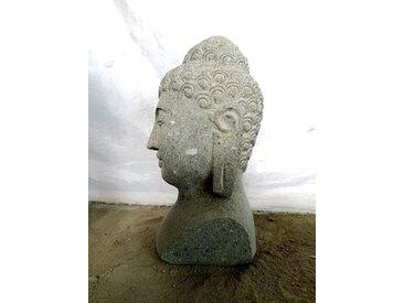 Buste statue jardin de Bouddha en pierre volcanique 40 cm