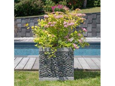 Pot bac jardinière carré cube galet 50cm jardin zen terasse
