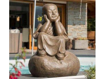 Statue moine Shaolin pensif patiné brun antique 80 cm