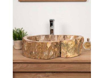 Vasque salle de bain en bois pétrifié fossilisé marron de 60 cm