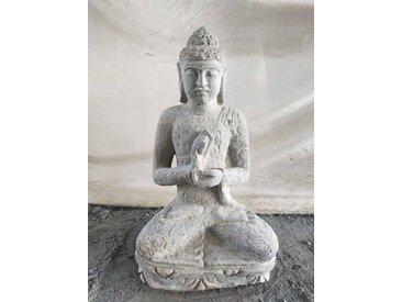 Statue de Bouddha en pierre volcanique de jardin zen position chakra 50 cm