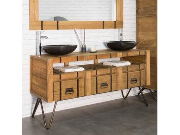 Meuble double vasque en mindi et acier 160 LOFT naturel