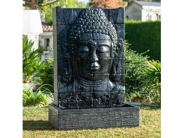 Fontaine de jardin mur d'eau visage de Bouddha 1 m 50 noir