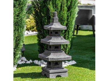 Lanterne japonaise pagode en pierre de lave de 80 cm
