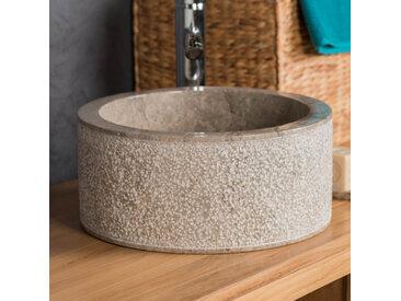 Vasque 35cm lave main salle de bain en marbre ELBE gris taupe