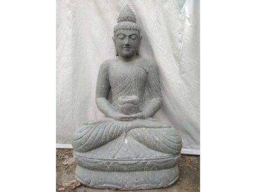Statue Bouddha assis pierre volcanique bol de 1m20