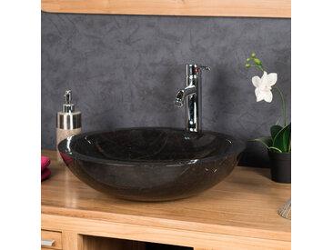 Vasque Ronde BARCELONE à poser en marbre de couleur noir - Diamètre 45 cm