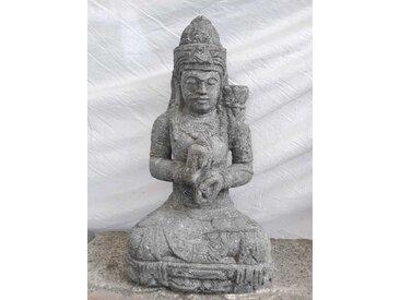 Statue déesse assise en pierre jardin zen position chakra 50 cm