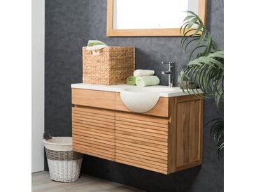 Meuble salle de bain suspendu avec vasque teck 100 CONTEMPORAIN crème