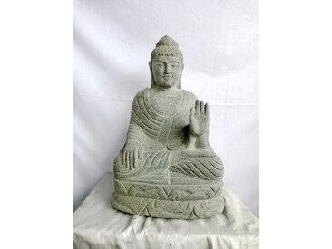 Statue jardin exterieur Bouddha assis pierre volcanique abhaya mudra 50 cm