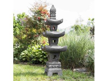 Lanterne japonaise pagode en pierre de lave 1.10 m
