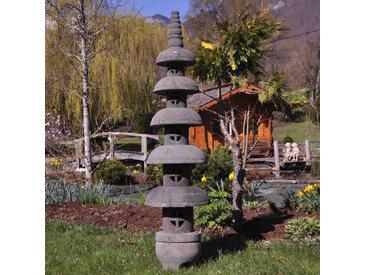 Lanterne japonaise pagode zen en pierre de lave 1.50 m
