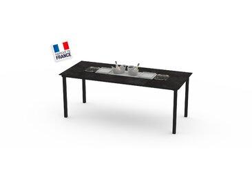 La Garrigue - table haute - table multifonctions : barbecue, vasque à champagne, plateau de présentation, couvercle - 12 places max