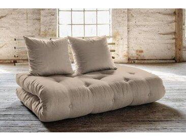 Canapé lit futon SOLVEIG beige et pin massif couchage 140*200 cm.