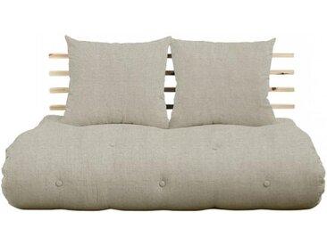 Canapé lit futon SOLVEIG en lin et pin massif couchage 140*200 cm.