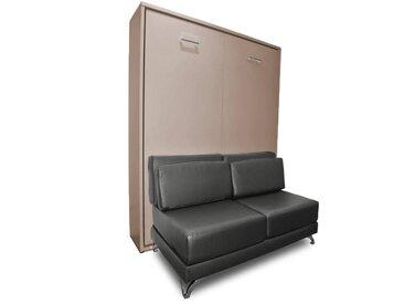 Armoire lit escamotable TOWN taupe canapé revêtement polyuréthane gris intégré couchage 140 * 200 cm