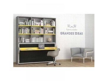 Armoire lit transversale ARES avec bureau et étagères Couchage 90/190cm
