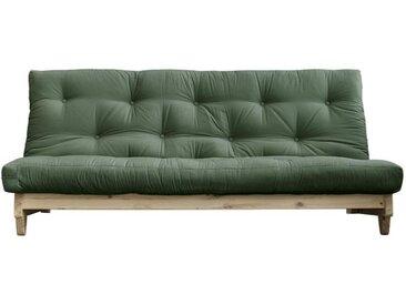 Banquette convertible futon FOLKER bois naturel coloris vert olive couchage 140*200 cm.