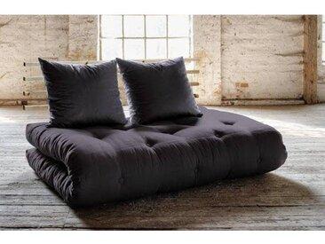 Canapé lit futon SOLVEIG gris foncé et pin massif couchage 140*200 cm.