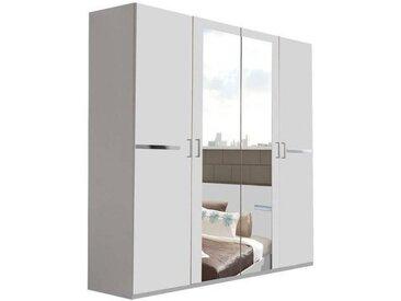 Armoire CARAMELLA 180cm à portes battantes coloris blanc avec 2 miroirs