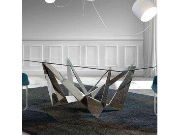 Table en verre et acier design APOLLON