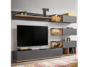 Ensemble meuble TV gris et couleur bois RUFFANO
