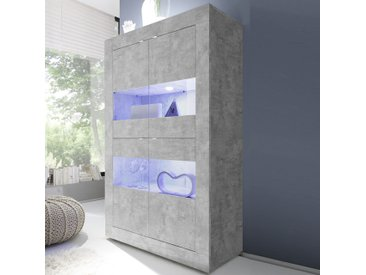Vaisselier lumineux design gris clair effet béton FOCIA 5