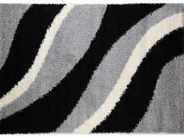 Tapis shaggy noir gris blanc MARBELLA
